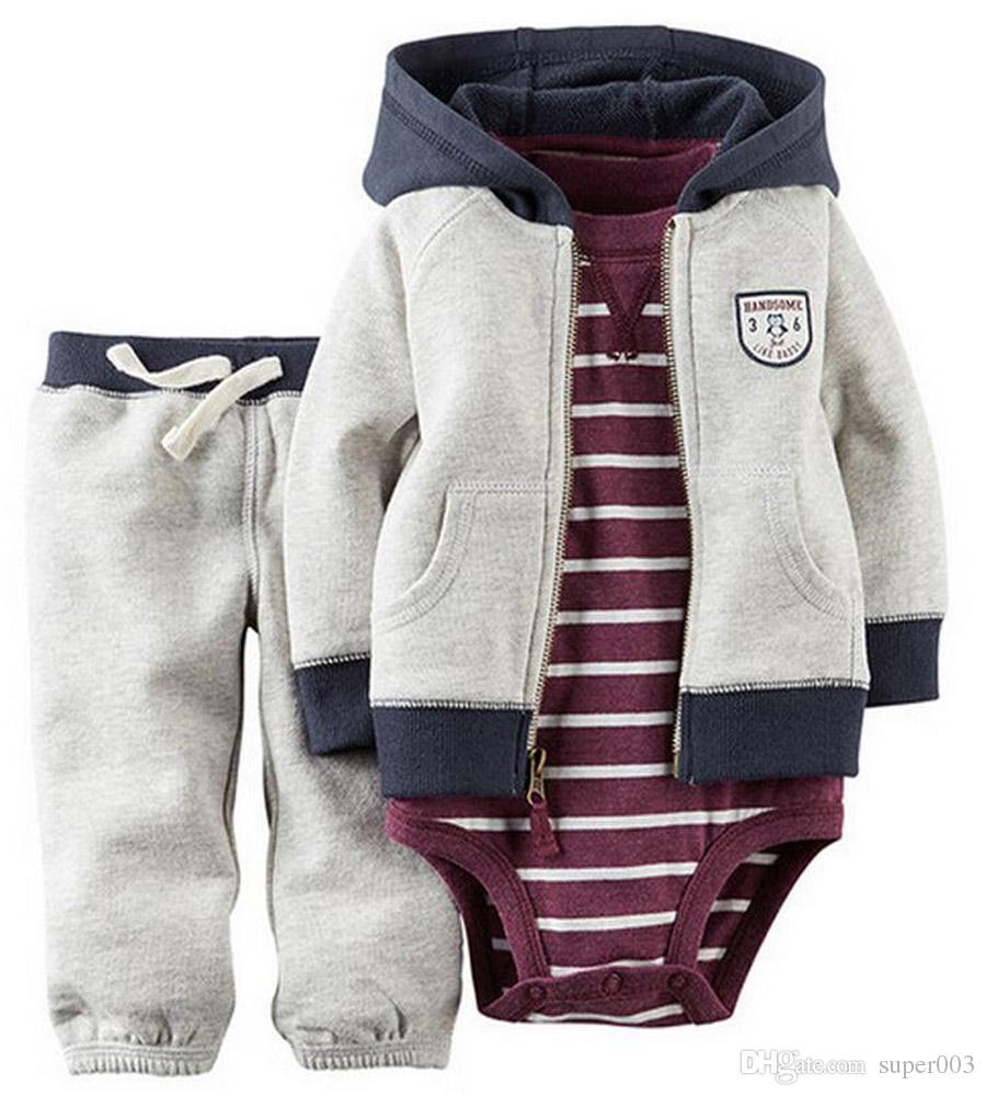 c7c3e595ca36 2019 2018 Baby Bebes Boys Clothes Set Jacket + Romper + Pants Boy ...