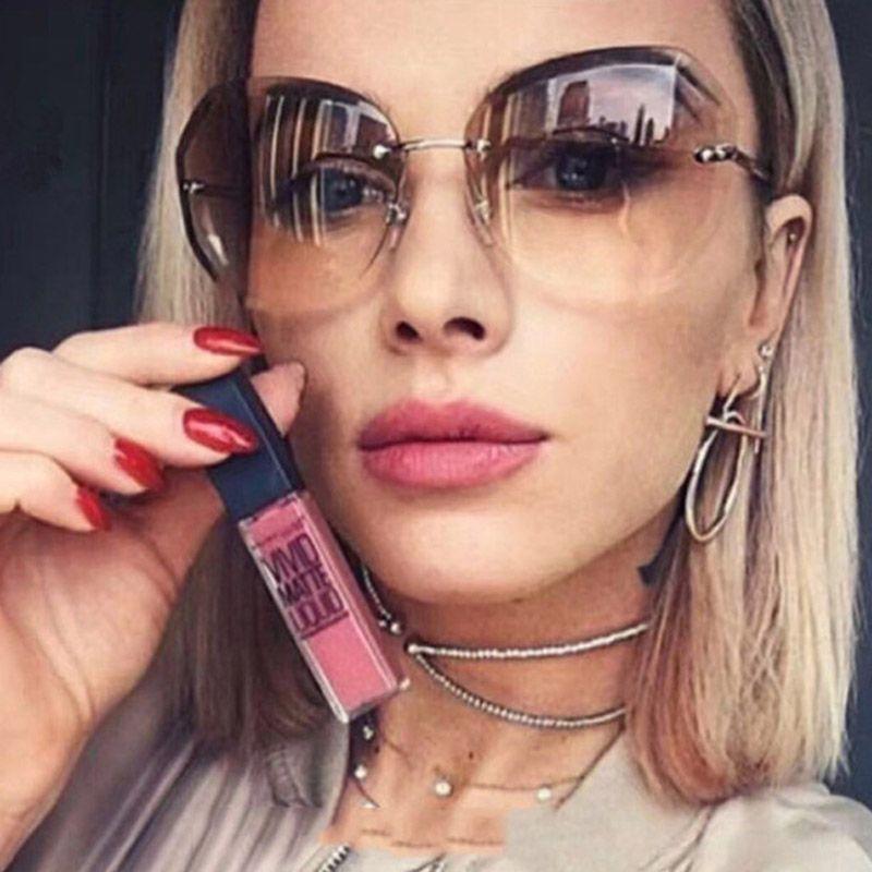 dd0efa41a4d Rimless Sunglasses Women Brand Designer Oversized Clear Sun Glasses New  Candy Color Square Eyewear Transparent Oculos John Lennon Sunglasses Wiley  X ...