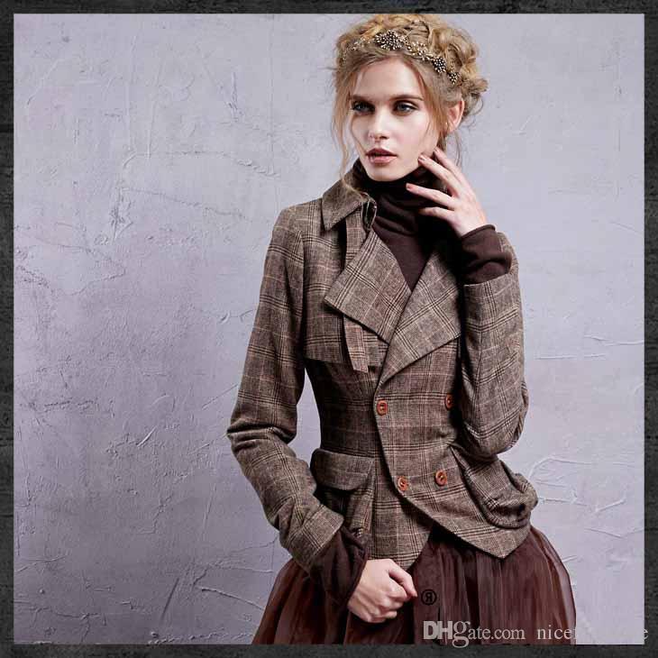 Autumn Women's Jacket 2017 Double Breasted Short Jacket For Women Knight Vintage Coat Plaid Slim Female Jacket WA10025Q