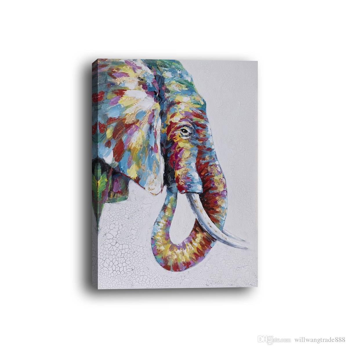 2018 Framed Modern Style Abstract Animal Elephant Lnkjet Spray ...
