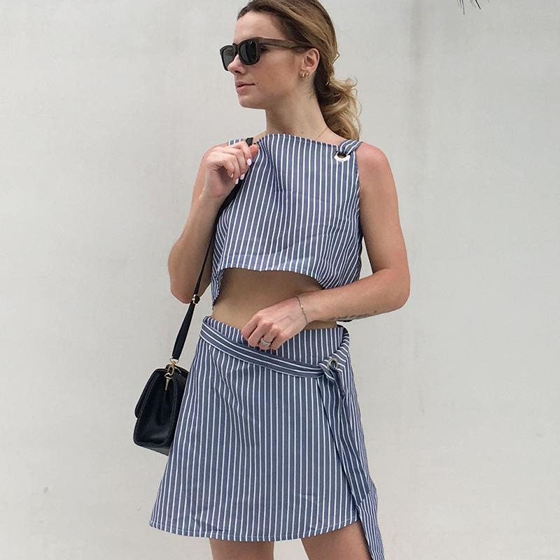 bc379ad7d05a10 2019 ASDS 2018 New Summer Wear Striped Straps Belly Button Blouse Lace  Skirt Women Suit B 7972 From Beatricl