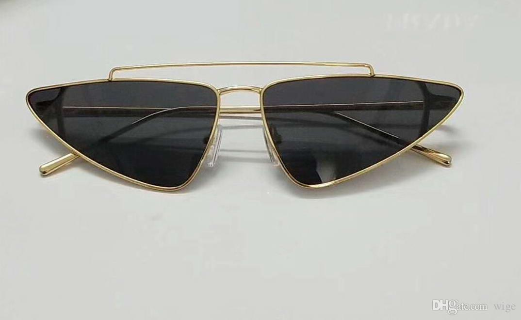a1f92ead947 Designer 63S cat eye Sunglasses Gold Gray Lens 63mm Women Fashion Brand  Designer Sunglass New with box