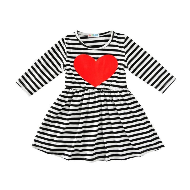 081b13a8de7faf Großhandel 1 2 3 4 5 Jahre Mädchen Kleid Neue Gestreifte Baumwolle Kinder  Kleider Für Mädchen Rotes Herz Schöne Kinder Prinzessin Kleidung Von  Jfyshop, ...
