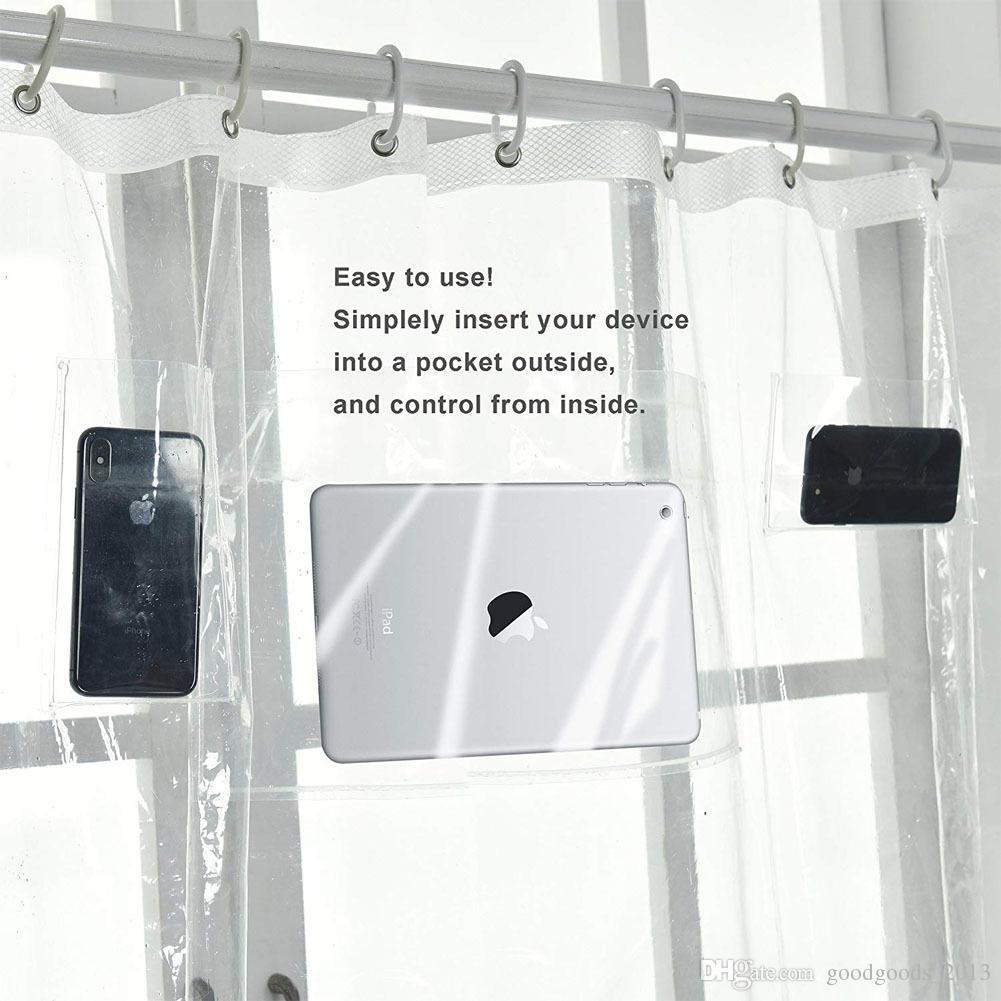 2018 Transparent Bath Shower Curtain Ipad Phone Tablet Holder Clear With Pockets For Touchscreen Devices Bathroom Z248 From