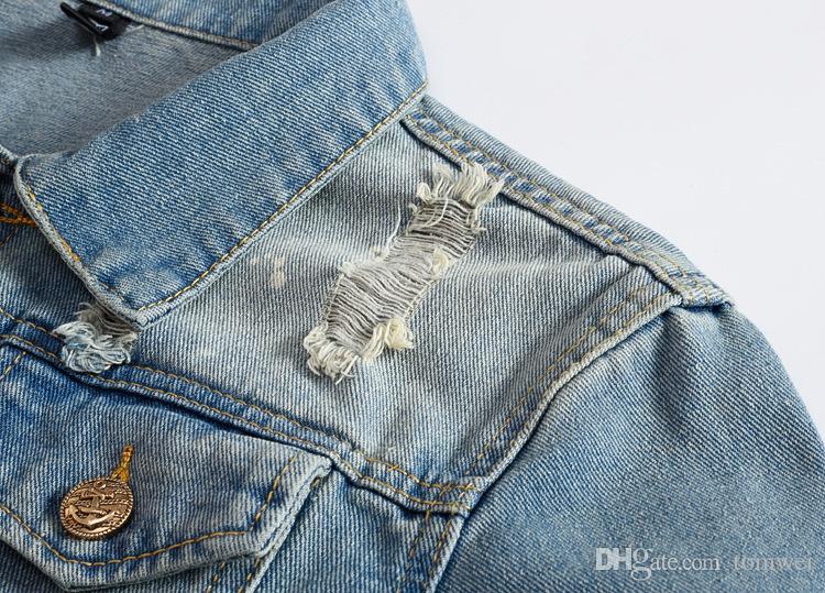 Korean Slim Fit Jackets Mens Denim Clothing Outwear Holes Ripped Coats Biker Motorcycle Windbreak 2018 New Arrival Light Blue
