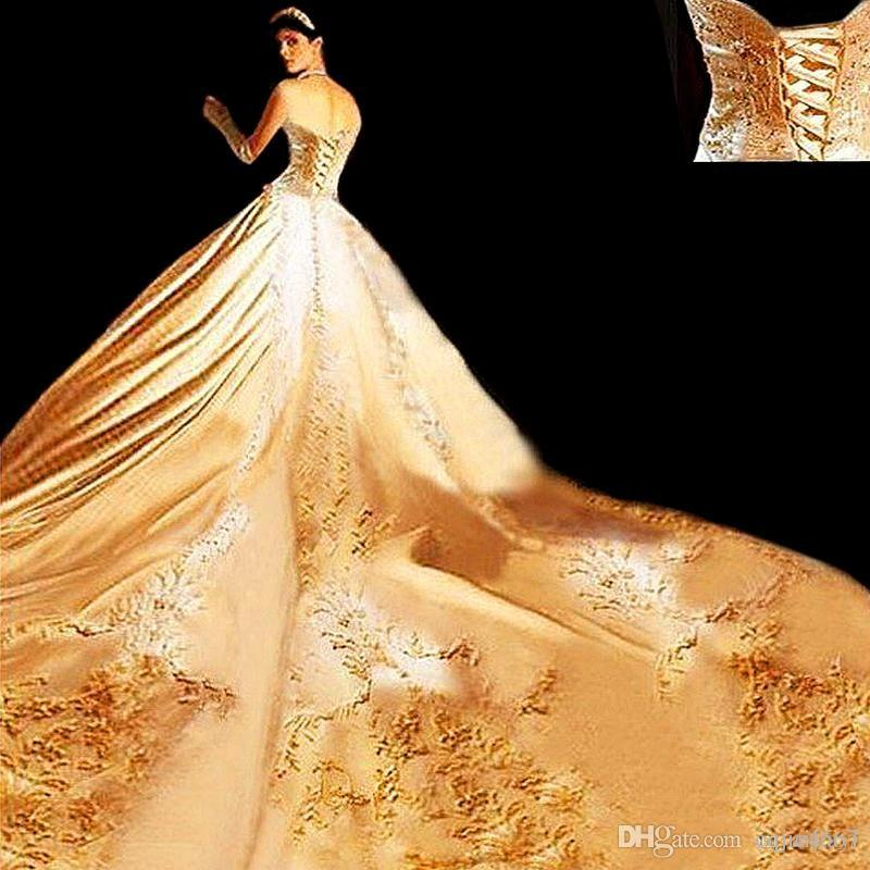 Hot New 2018 Best Quality Custom Ivory Satin Gold Embroidered