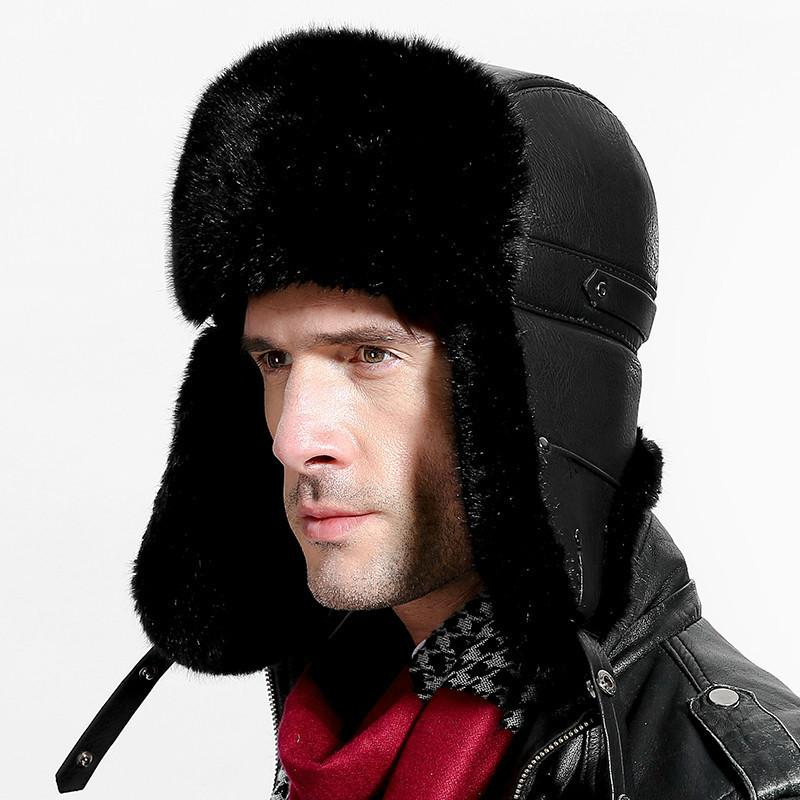 Russian Leather Bomber Leather Hat Men Winter Hats With Earmuffs Trapper  Earflap Cap Man Real Raccoon Fur Black Ear Protection Cap UK 2019 From  Hearting 0c36a81fcdd