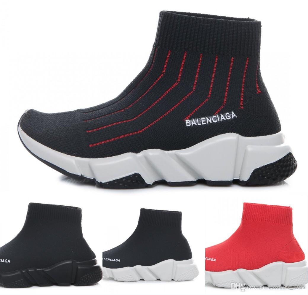 brand new 88690 cae18 Mode Baby Kinder Schuhe Socken Stiefel Kinder Slip-On Casual Wohnungen  Geschwindigkeit Trainer Turnschuhe Junge Mädchen High-Top Laufschuhe