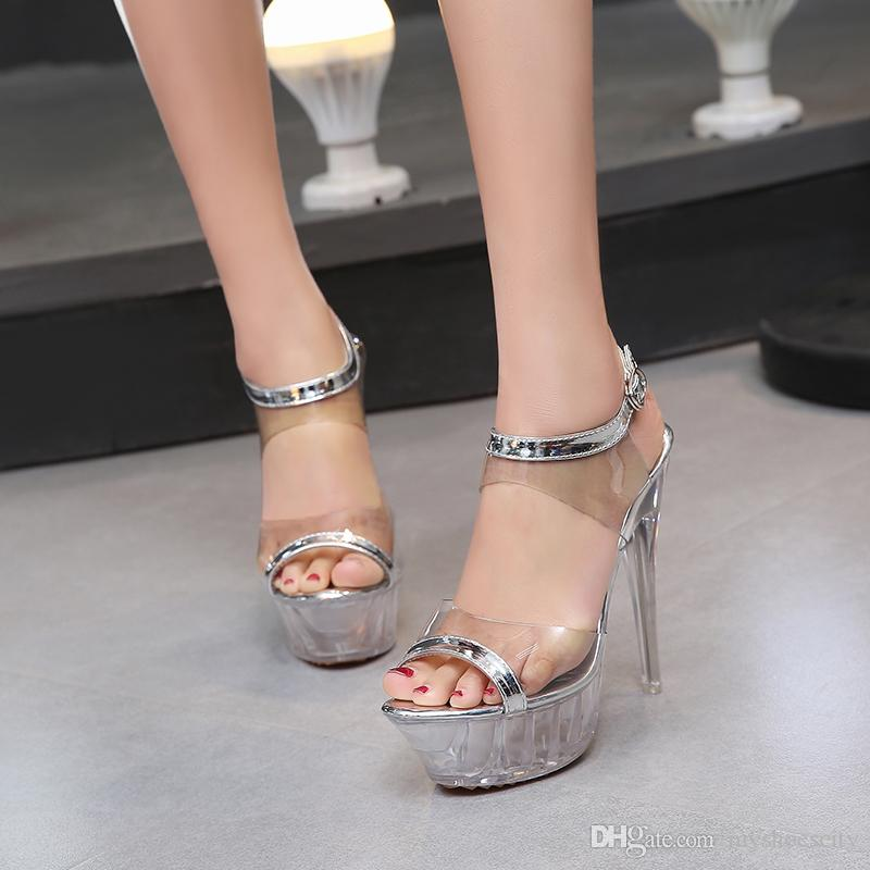 14cm Sexy high heels silver crystal PVC transparent wedding shoes women men unisex pole dancing shoes plus size 35 to 40 41 42 43