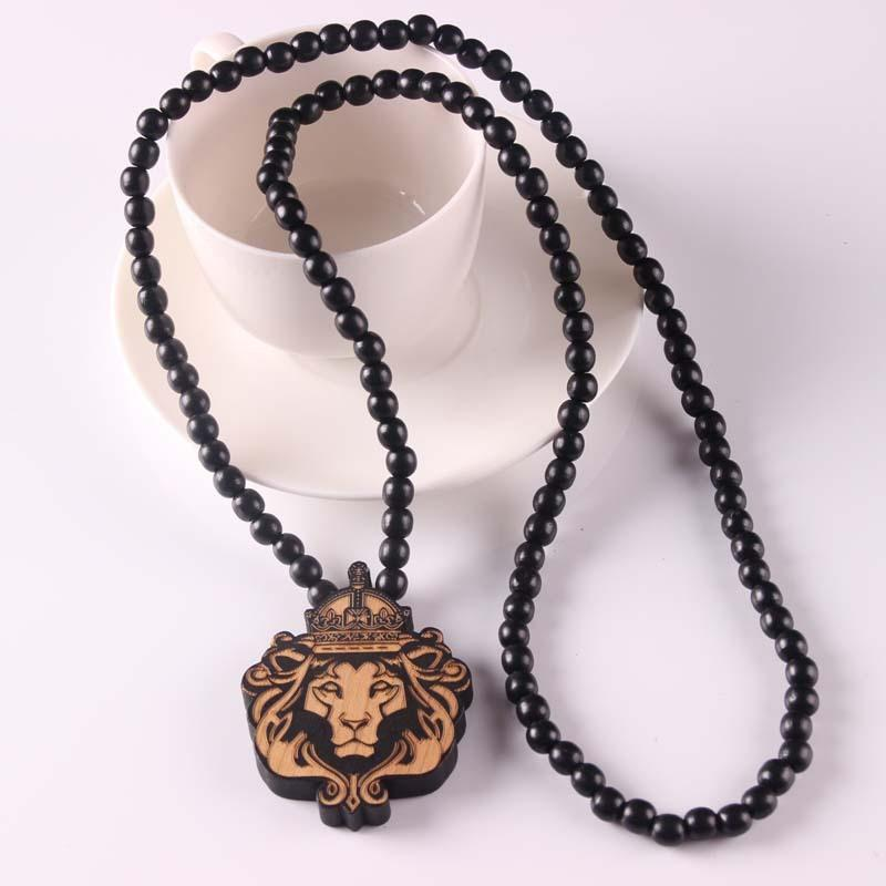 Good Wood Chase Infinite Deep Brown Lion Head Pendant Wooden Beads Necklace Hip Hop Fashion Jewelry Animal For Women Men Chain