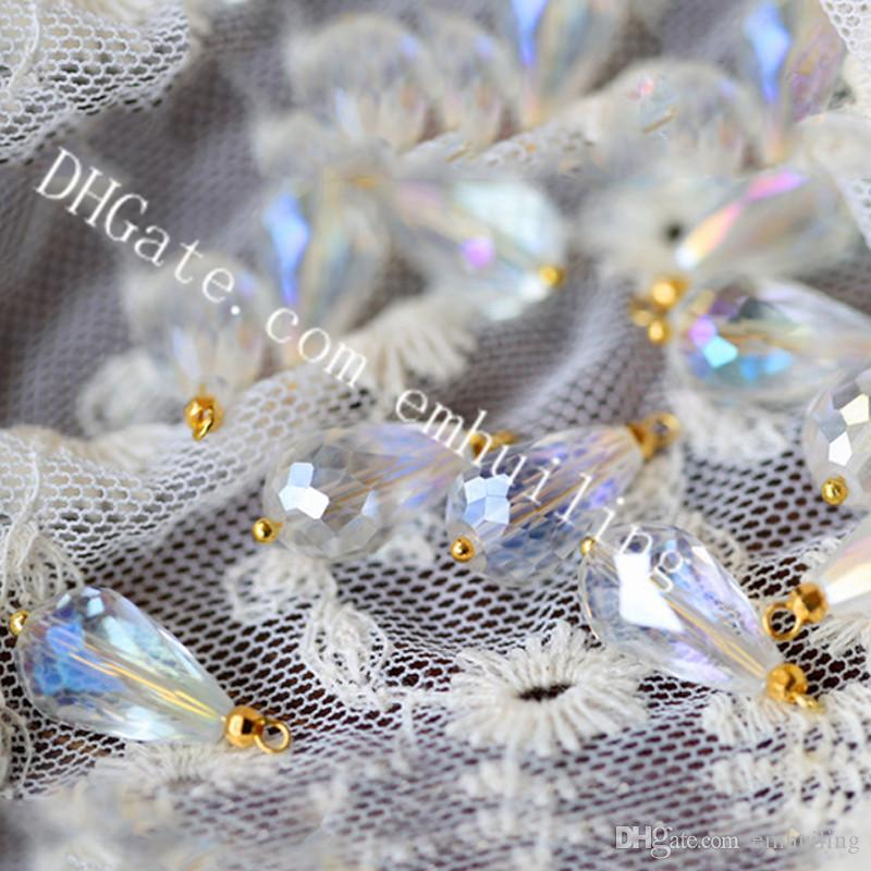 Mini Angel Aura Artificial Crystal Pendant Bead Water Drop Mystic Coated Iridescent Faceted Crystal Charm Bead Perfect for Jewelry Making