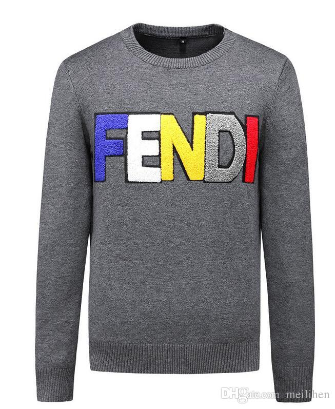 bee77a1d1 Marca de moda para hombre Carta de bordado Prendas de punto Ropa de hombre  de invierno Suéter de manga larga con cuello redondo para hombres ...