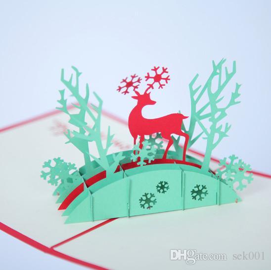 Großhandel 10 Stücke Weihnachten Deer 3d Pop Up Handgemachte ...