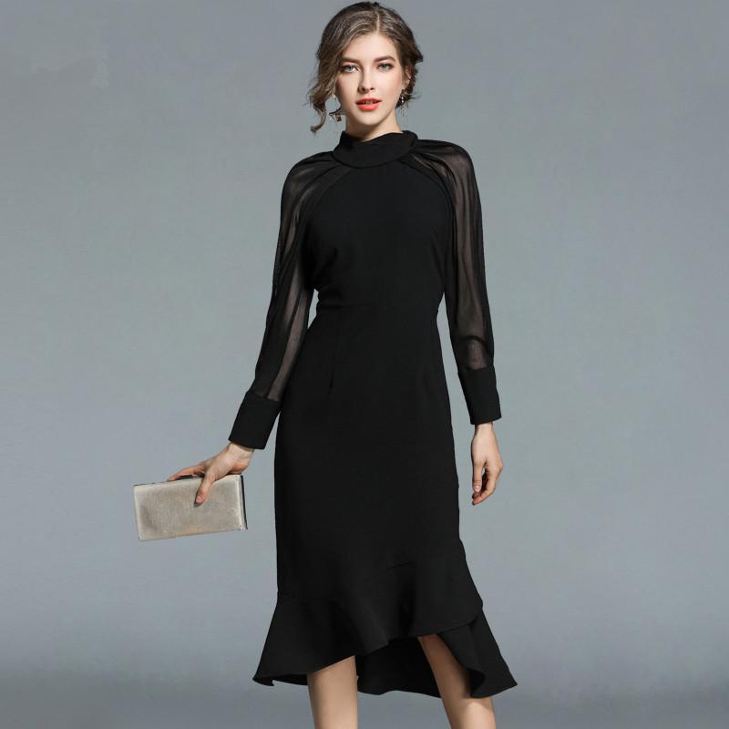 63fd7fd385b Acheter Femmes De Luxe Parti Robe Noire 2018 Automne Runway Mesh Patchwork  Manches Longues Robes Sirène De  34.25 Du Firstcloth