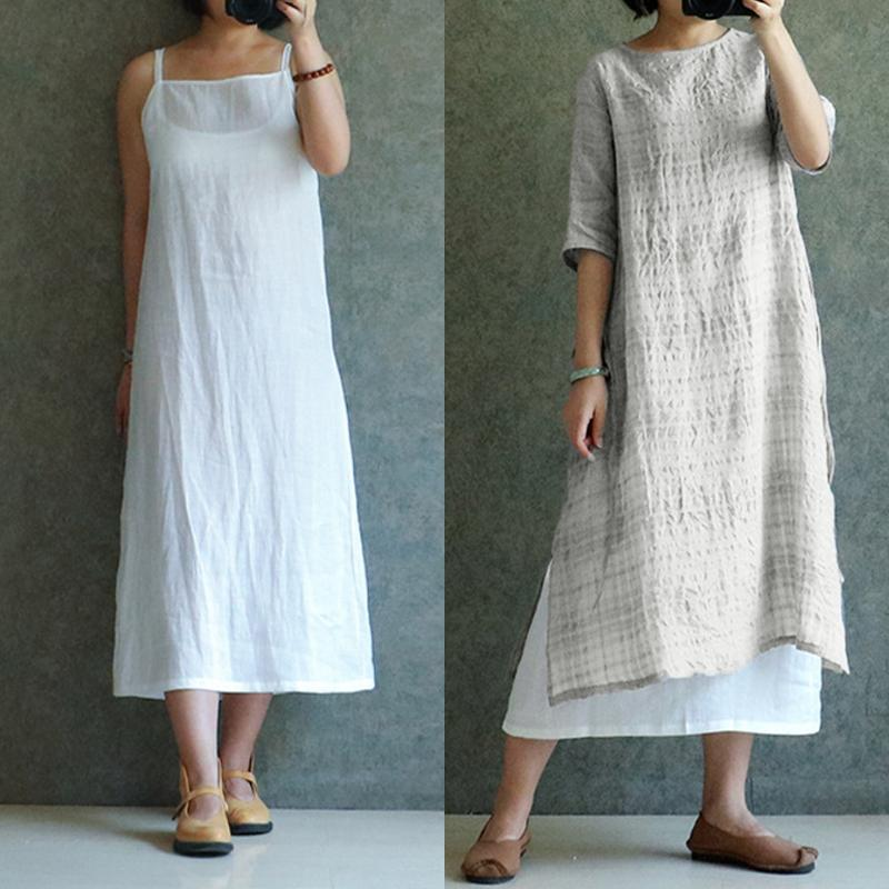 b001dda6e527d 2019 Vestidos Celmia Summer Dress 2018 Vintage Women Casual Loose Linen  Spaghetti Strap Sleeveless Long Maxi Dresses Plus Size S 5XL From Edward03,  ...