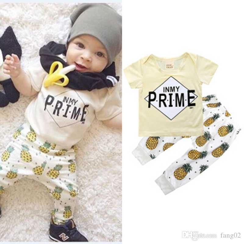 821dfefae 2019 New Pineapple Baby Boy Clothes Sets Kids T Shirt Pants Suits 100%  Cotton Children Clothing Summer Boy Outfits Beige Prime Tops From Fang02,  ...