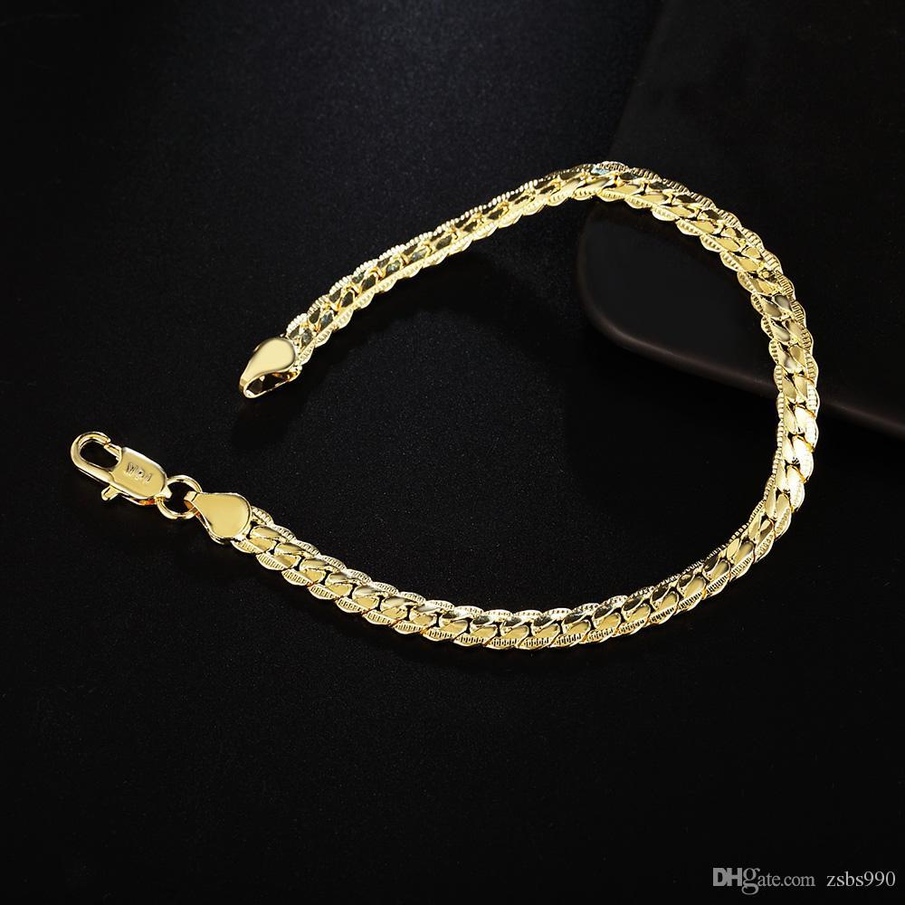 Großhandel Billig 18 Karat Reales Gold Überzog 5 MM Schlangenkette Armband Armreifen Länge 20 CM Modeschmuck Für Männer und Frauen Freies Verschiffen