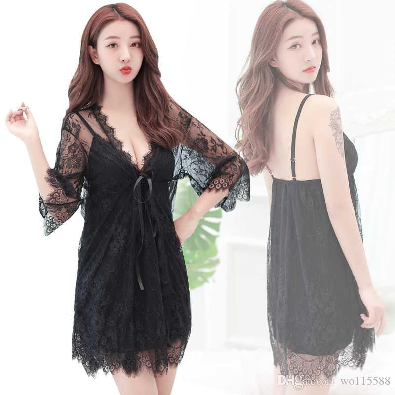 3bdc4d48e2 2019 New Sexy Lingerie Cosplay Lace Sexy Pajamas Europe And The United  States Adult Sexy Underwear Perspective Wear Ladies Mesh Gau From Wo115588