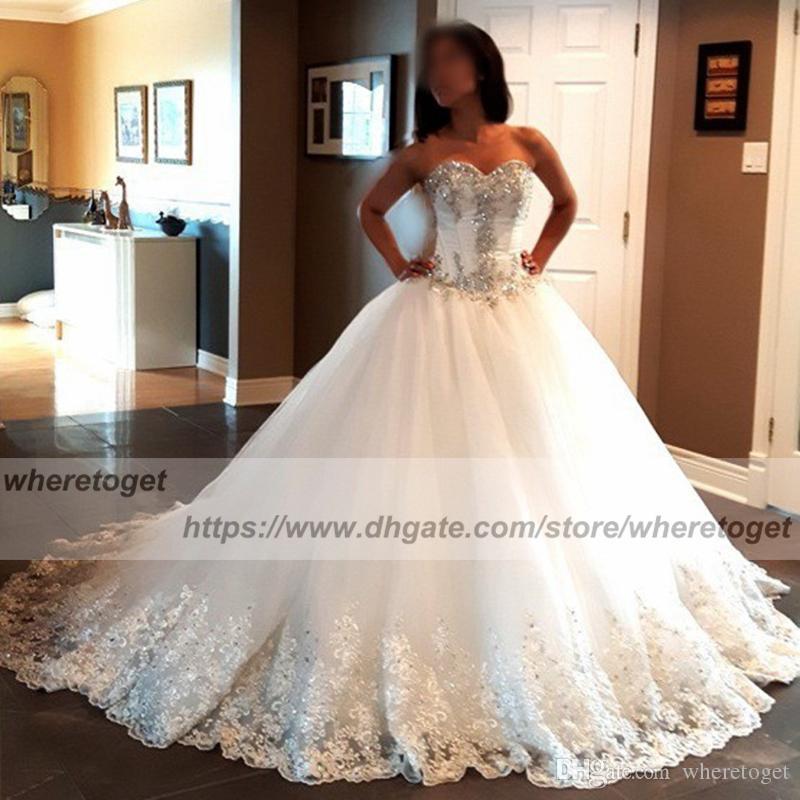 2018 luxuoso vestido de baile vestidos de casamento espartilho puffy  querida lace bling bling beads ataduras plus size vestidos de casamento  vestidos de ... 4652b6bee050