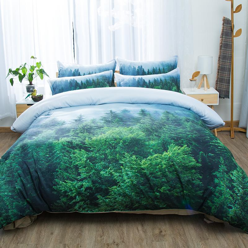 Wheat Field Snow Mountain Tree Forest 3d Scenic Bedding