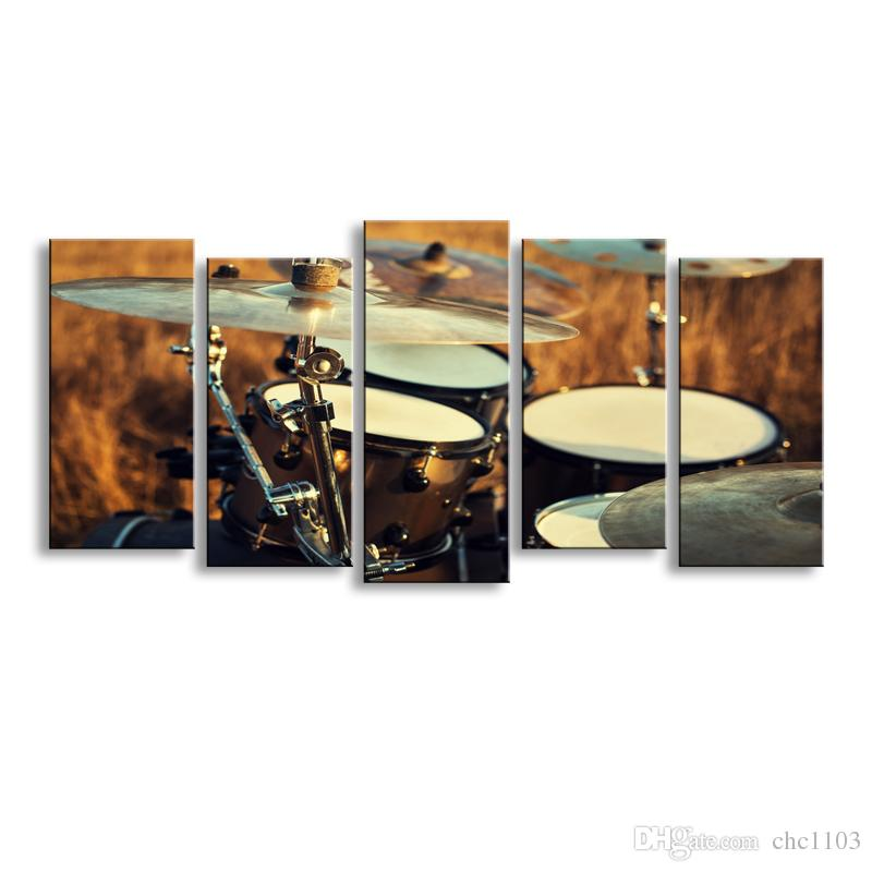 5 pieces high-definition print Shelf drum canvas painting poster and wall art living room picture JG-002