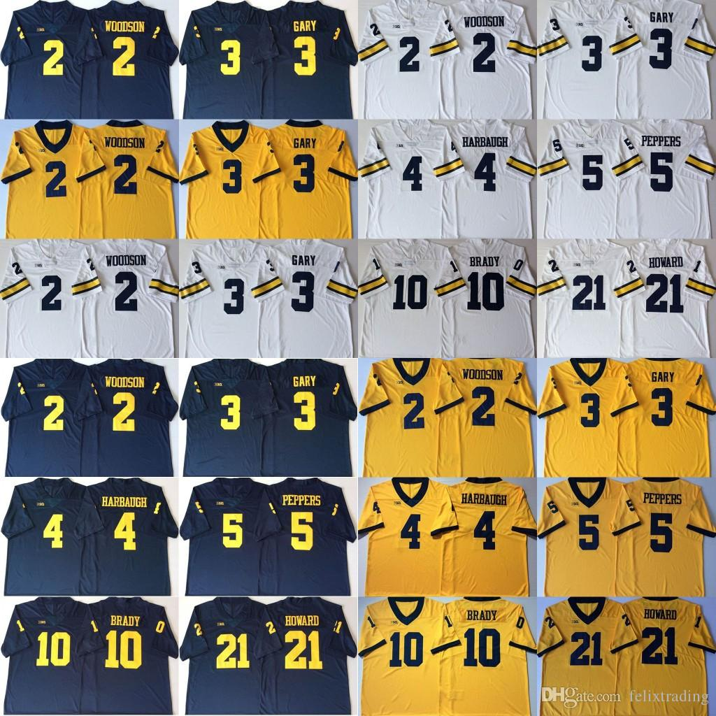 2019 Michigan Wolverines 2 Charles Woodson 3 Rashan Gary 5 Jabrill Peppers  4 Jim Harbaugh 10 Tom Brady 21 Desmond Howard College Football Jersey From  ... d6ec95be2