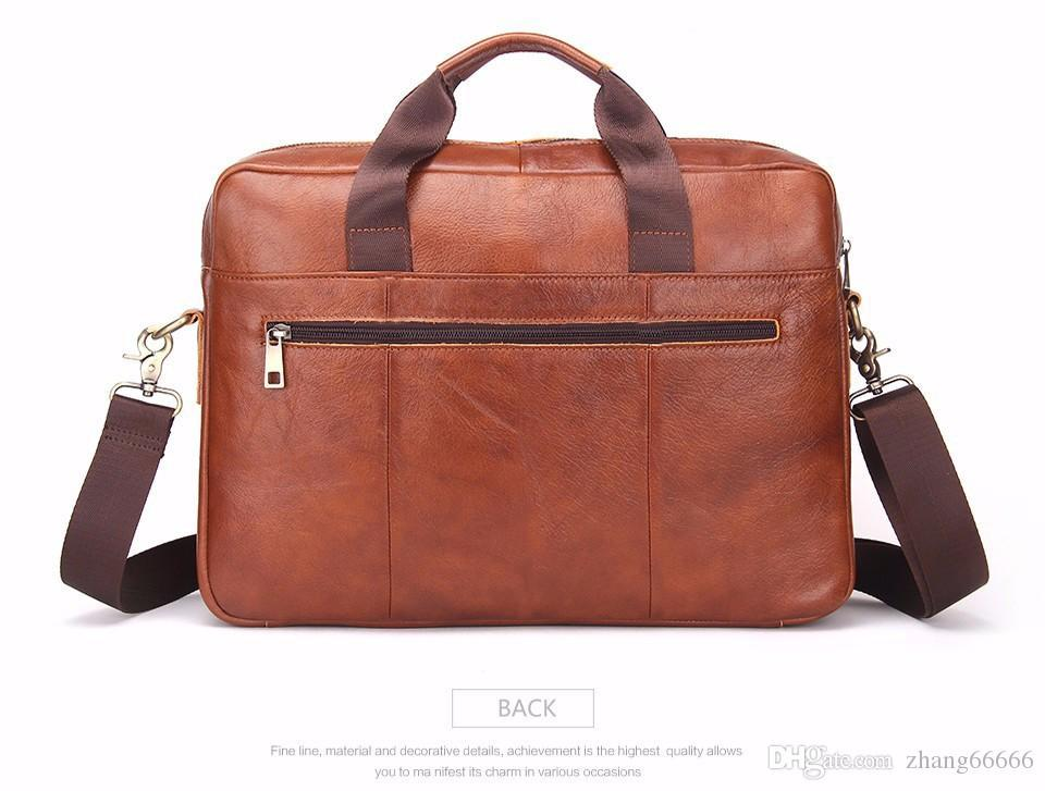 950f7b86beae 2017 Business Genuine Leather Men Briefcase Cowhide Men's Messenger Bags  14