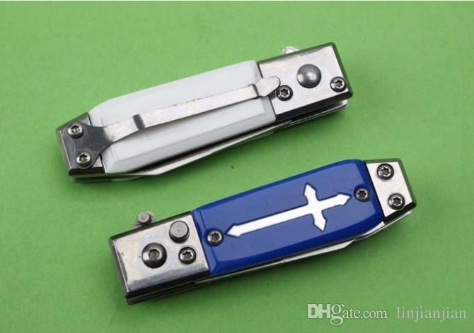 Оптовая мини-мини складной нож автоматическое лезвие страхового устройства крепкий карманный нож два стиля белая коробка упаковка бесплатная доставка