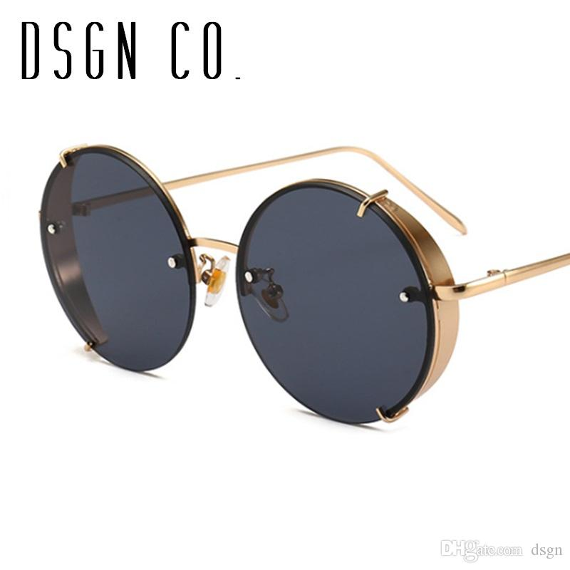 93905d773e6 DSGN CO. 2018 Retro Round Rimless Sunglasses For Men And Women ...