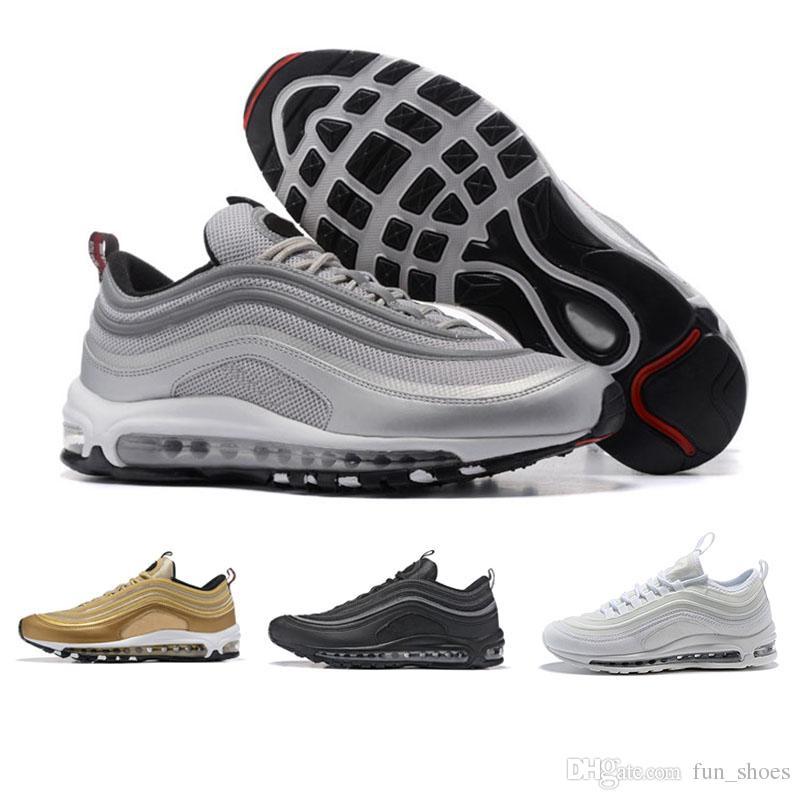 N09 2 Nike Air max 97 sneakers OG Tripel Blanco Metalizado Oro Plata Bala Mejor calidad BLANCO 3M Zapatos Casual Premium Hombres Mujeres Envío gratis