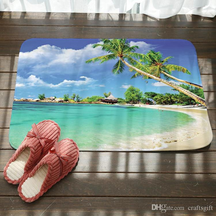 Sunset Seaside Beach Bath Mats Kitchen Bathroom Floor Door Mat Super Absorbent Non-slip Rugs Soft Flannel Bath Mats