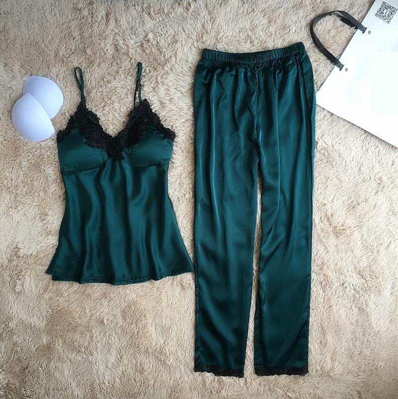 51e6bbf3d69 2019 Casual Sleep Set Summer Home Clothes Intimate Lingerie Green Pajamas  Suit Women Strap Shirt+Shorts Silky Satin Sleepwear From Aurorl