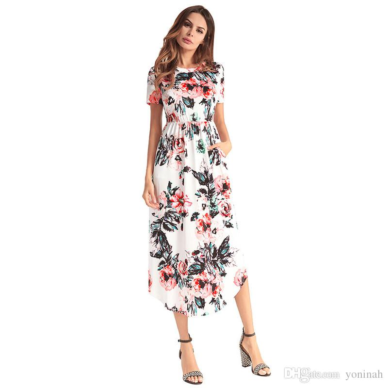 Wholesale New Women Bohemian Floral Print Mid Calf High Waist Beach Summer  Plus Size Dresses Dress For Women Prom Gowns From Yoninah, $32.55| ...