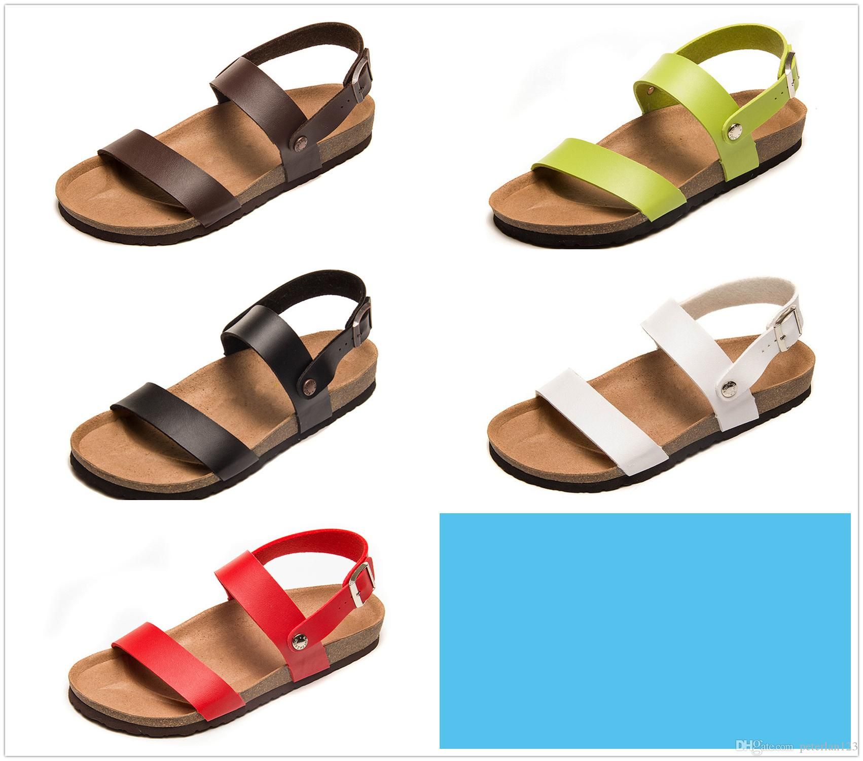 c31297b690b9 Famous Brand Arizona Men Flat Heel Sandals Women Fashion Summer Beaches  Casual Sandals High Quality Genuine Leather Sandals With Box Cheap Shoes  Wedge ...