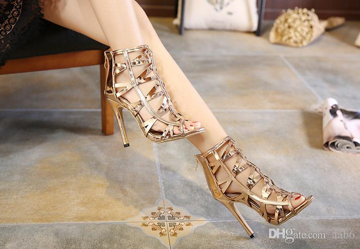 2018 Italian champagne hollowed-out sandals beauty high heeled shoes 35-40 yards and high 12cm