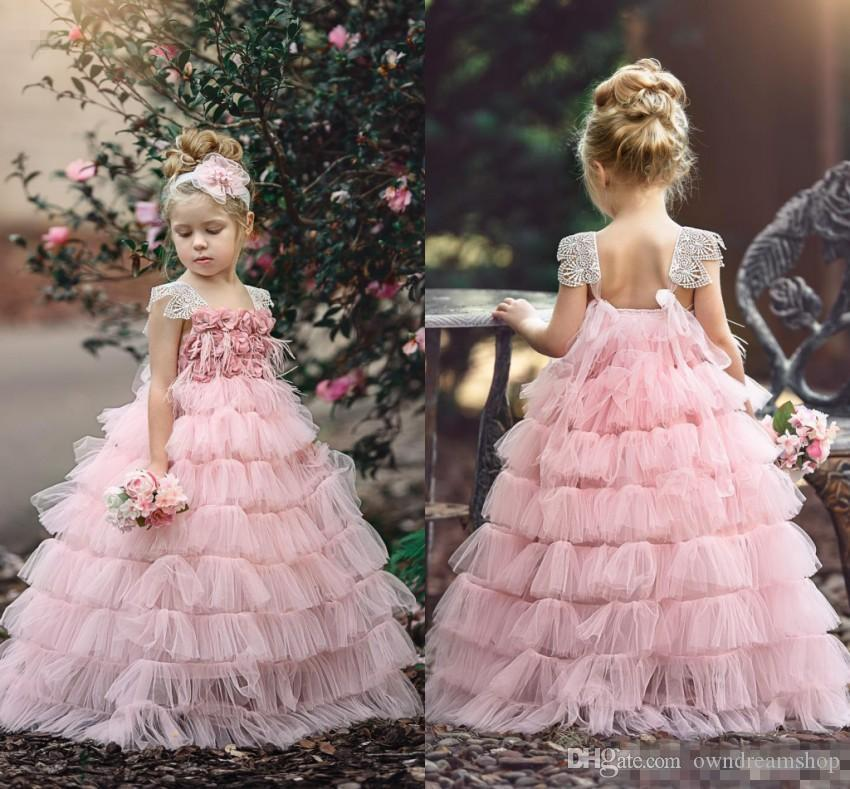 Beautiful Pink Girls Layers Cupcake Flower Girl Dresses 2018 New Lace Cap  Sleeves Rose Flowers Tutu Skirt Long Formal Pageant Party Gowns White Dress  For ... e41c46e19b02