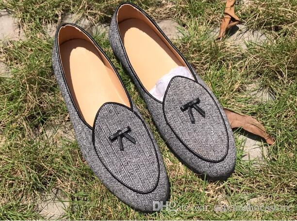 Scarpe estive Uomo Canvas Flats Mocassini confortevoli Punta tonda Bow-knot Scarpe casual Smoking Shoes Men Street Fashion