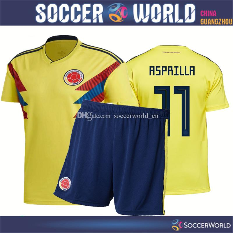 2019 2018 World Cup Colombia Soccer Jersey Colombia Home Kits Shirts+Shorts JAMES  CUADRADO FALCAO AGUILAR Football Uniform Sales Size S 3XL From ... 28dedcb31