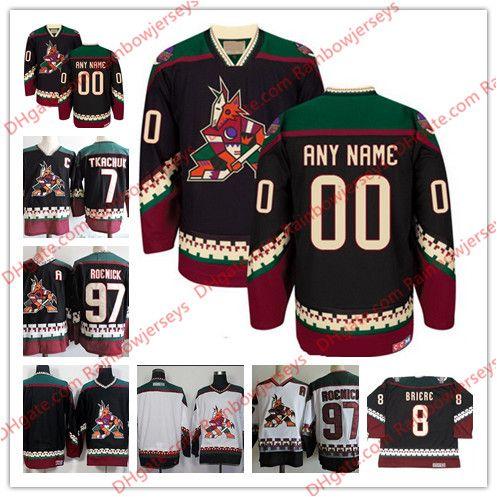 Custom Phoenix Coyotes Vintage Jerseys  97 Jeremy Roenick 7 Keith Tkachuk 8  Daniel Briere Blank Black White 1998 CCM Retro Hockey Jerseys UK 2019 From  ... 7061a446b