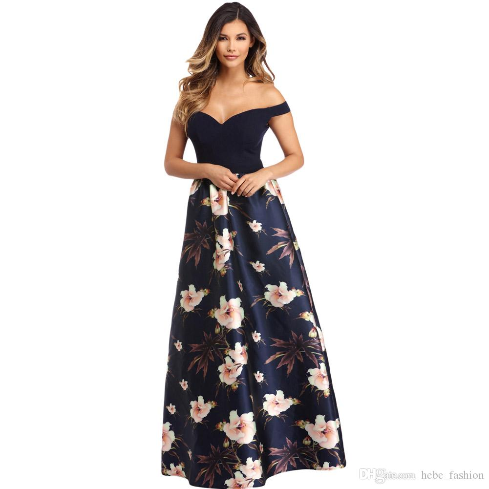 ... 67b04 a1ff0 Long Party Dress Maxi Summer Sexy Women Off Shoulder  Sweetheart Neck Bodice Floral Print  a87ae 5884d Black Bardot Bodycon ... c09dfb69ecfe
