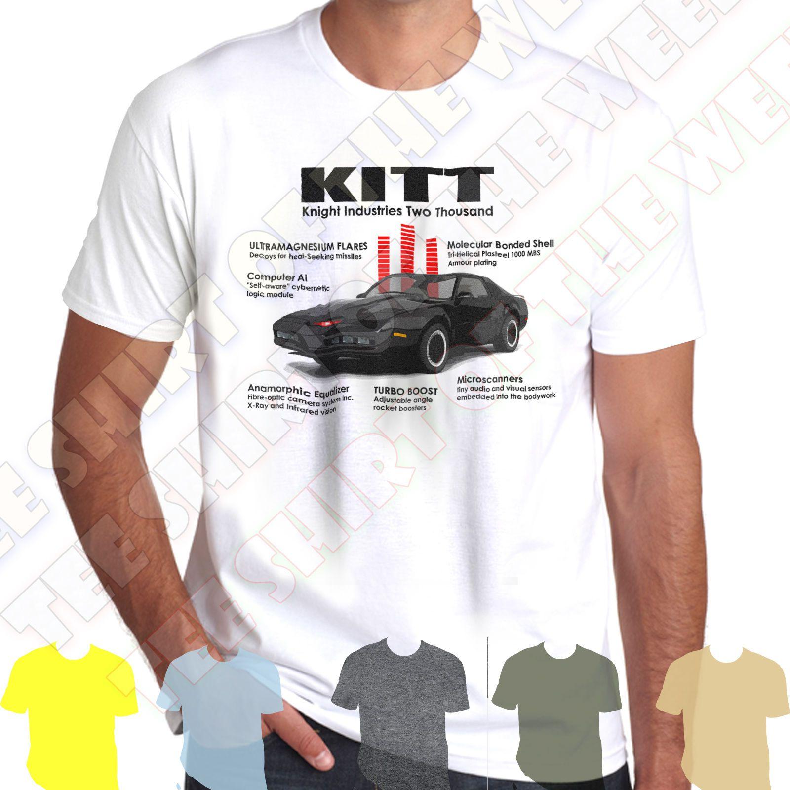 Details zu Knightrider KITT 1982 Pontiac Trans Am 80s tv infographic 100%  cotton tshirt Funny free shipping Unisex Casual