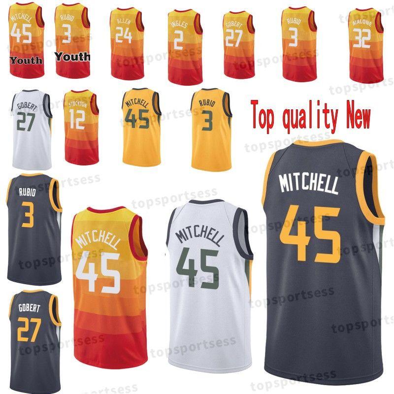 sale 2018 youth men utah 45 donovan mitchell jazz 3 ricky rubio jersey 27 rudy  gobert 2f012d666