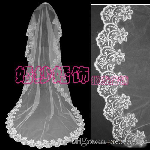Vintage Lace Appliques Edge Bridal Veil White ivory Red 1.5M 2M 3M 10M Available Bridal Head Accessories Top Sale One Layer