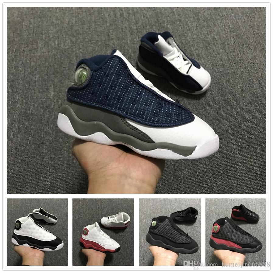 online store 42360 db5b3 2019 13s Black Cats Toddler sneakers bred Flint Kids Basketball Shoes  Infant 13 big boy & Girl Children Trainers