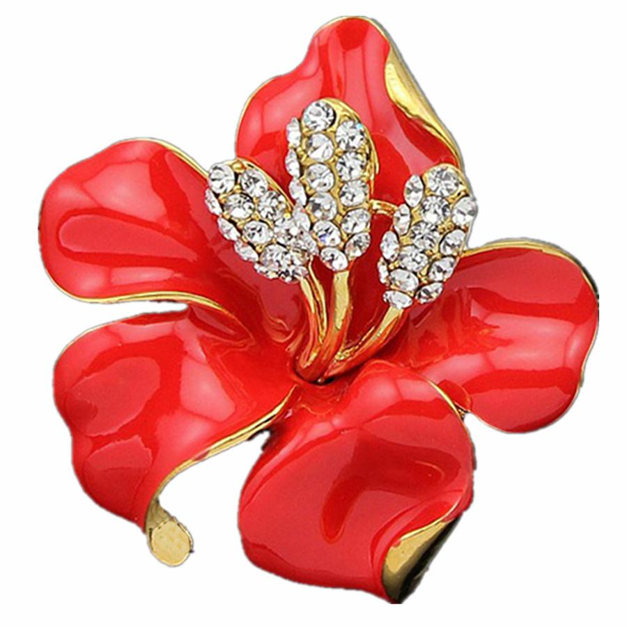 Enamel Crystal Rose Flower Large Brooch Pin Rhinestone Costume Jewelry Clothes Accessories Brooches for Wedding Gift XZ079