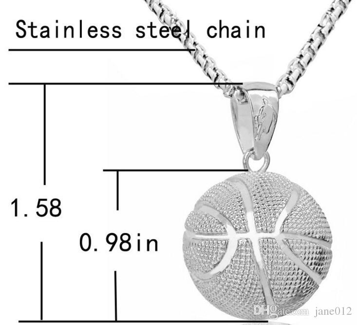 Athletic Jewelry Men Basketball Pendant Necklace Europe Gold Plated Stainless Steel Chain Necklace for Women Wholesale