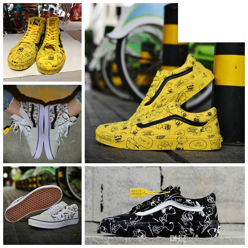 4e21be764 Compre 2019 Vans Old Skool Sneakers Nuevos Peanuts Para Mujer Zapatos De  Skate De Lona Snoopy Cartoon Comic Old Skool De Tiro Alto Para  Deslizamiento En ...