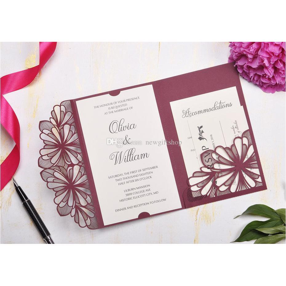 Luxury Burgundy Shimmy Wedding Invites Elegant Laser Cut Dinner ...