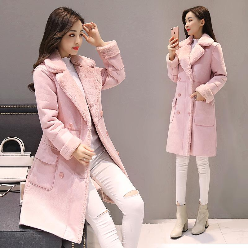 2018 new fashion women winter jackets pink female lapel. Black Bedroom Furniture Sets. Home Design Ideas