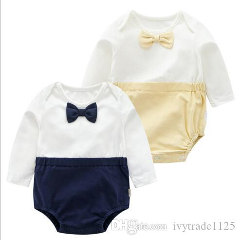 2 colors Ins Baby kids summer boy cotton romper O-neck gentleman UK style short sleeve bow tie romper kids cuasual formal clothing